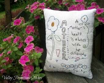 Decorative Pillow, Hand Stitched, Pillow,Flowers, Mother, Gift