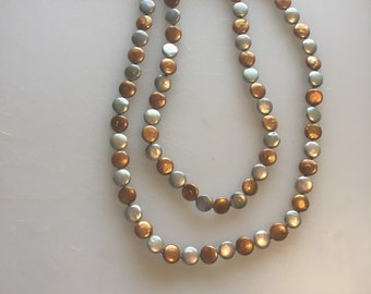 Silver and gold flat round pearl beaded necklace