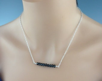 """Black Spinel Necklace, Delicate necklace, Gift idea, Bar necklace, Black Jewelry, Sterling Necklace, Spinel Jewelry, """"Spinel Bar"""""""