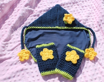 Soft structured carrier CUSTOM crochet accessory set TULA ERGO drool pads, hood, and reach straps