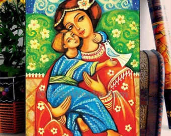 Mother and child painting, folk art icon, Mary and Jesus, motherhood art, home decor wall decor woman art, ACEO wood block, CG