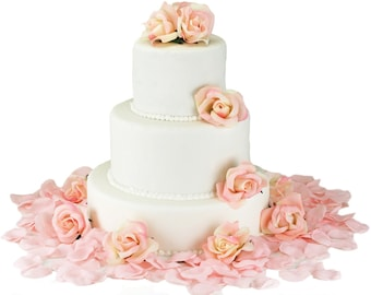 Pink Silk Rose Cake Flowers - Wedding Reception Decoration