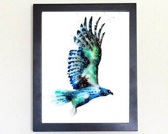 Hawk Spirit Animal Art Print Watercolor 8x10