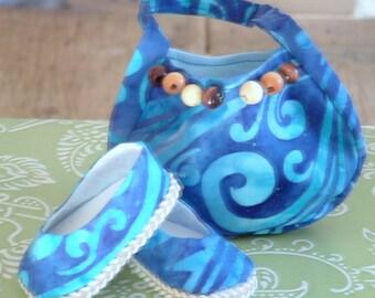 Blue Batik Pocketbook and Shoe Set for American Girl Dolls