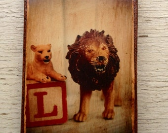 Vintage Toy L is for Lion Art/Photo - Wall Art 4x6