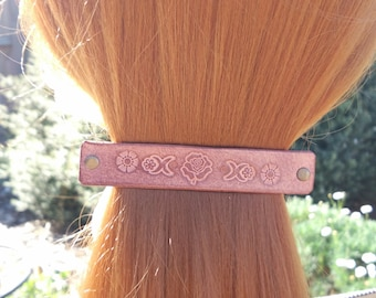 Leather French hair barrette, Handmade Tooled Leather Hair Clip, women Hair Accessory, brown rose flower, hair fashion, Ponytail Holder