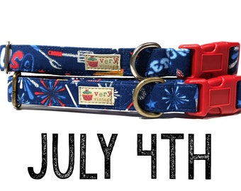 """July 4th & American Patriotic USA Red White Blue Fireworks BBQ Playful Summer Fun Dog Collar - Antique Metal Hardware - """"July 4th"""""""