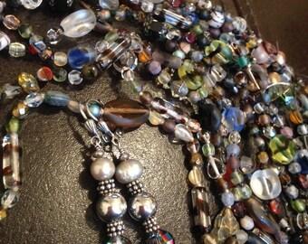 Dangle Earrings, Vintage Crystal Beads, Handcrafted Pearl Earrings, Bridal Earrings