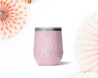 Rose Quarz Corkcicle Stemless Wine Glass with Decal - 12 oz. Wine Cooler, Teacher Gift, Bridesmaid Gift, Girlfriend Gift, Christmas Present