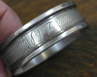 antique sterling silver tooled decoration oval napkin rings hallmarked birmingham 1934