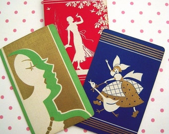 3 Vintage Art Deco Playing Swap Cards
