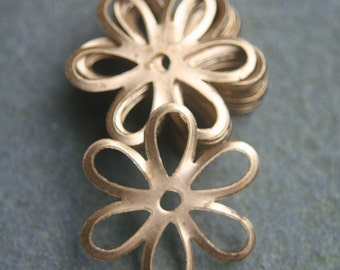8 brass vintage flower findings