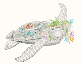 Lennard the turtle - bohemian animal,children's, fine art print, ocean creatures, travel