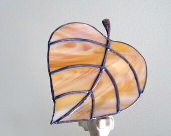 Leaf Night Light Stained Glass Caramel Brown Nightlight Handmade OOAK