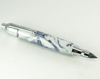 Handmade Sketch Pen /  Pencil - Sketch Pen / Pencil in White with Purple Acrylic and Chrome plating, Handcrafted Pencil, Gift Pencil