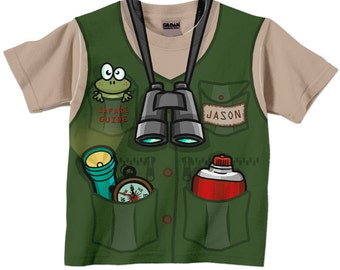 Safari Guide Shirt, Personalized Childrens Jungle Birthday T-Shirt, Boy's Jungle Safari Birthday Shirt