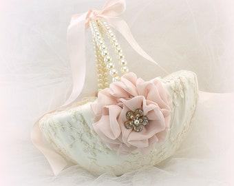 Flower Girl Basket Ivory Blush and Gold Lace and Pearls Vintage Unique Wedding Basket