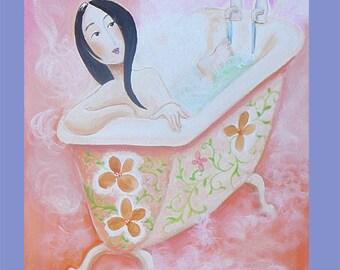 bathroom art, folk art,steamy saffron, hot bath, girl in bath, acrylic painting,custom colors, victorian bath folk art,