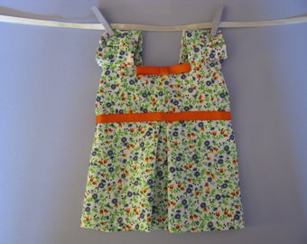 40 cm waldorf doll clothing - cotton floral summer dress