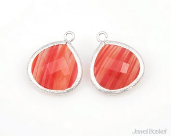 MARKDOWN - Red Gahnite and Matte Silver Framed Glass Pendent / 15mm x 18mm / SRGMS007-P (2pcs)