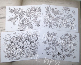 Batch of 4 postcards coloring coloring