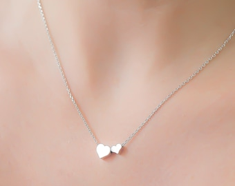 Dainty Two Heart Necklace, Two Tiny Silver Hearts, Delicate Fine Chain, Double Heart Necklace