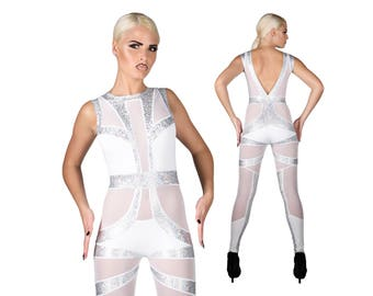 Space Bride Catsuit, Holographic, White Catsuit, Bridal Jumpsuit, Futuristic Clothing, Cyberpunk, Burning Man Outfit, Unitard, LENA QUIST