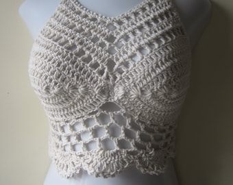 HIGHNECK CROPPED TOP, Crochet cropped halter top, festival clothing, crochet halter top, cropped top, festival top, beach cover  summer top,