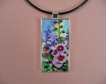 """NECKLACE KEYCHAIN Watercolor Domino Pendant Fob Gift for Her Matching Choker 18"""" Beautiful Key Ring Gorgeous Flowers"""