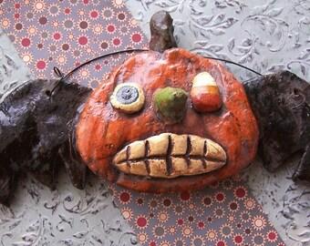 Whimsical Folk Art Pumpkin Bat Halloween Ornament Ornie OOak Doll