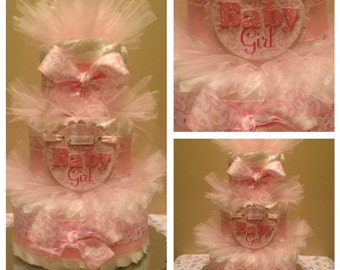 Pink Damask Girl Diaper Cake,Unique Baby Shower Centerpiece,Pink Baby Shower Gift,Girl Diaper Cake,Girl Baby Gift