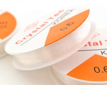 Elastic thread transparent crystal 0.6 mm nylon, 1 spool of 10 m