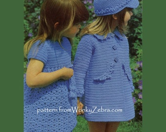 Vintage Crochet Coat Dress and Hat Patterns PDF 667 from WonkyZebra