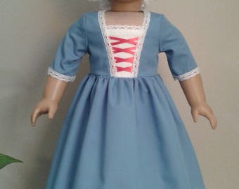 Colonial Sky Blue Cotton Day Dress with Mob Cap for 18 Inch or AG Felicity or Elizabeth Doll