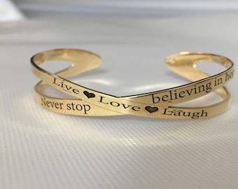Personalized gold bracelet Custom gold bracelet Gold cuff bracelet Love bracelet Motivation jewelry Hand stamped bracelet Engraved bracelet