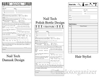 Refill Pages for Client Organizers - Nail Tech or Hair Stylist