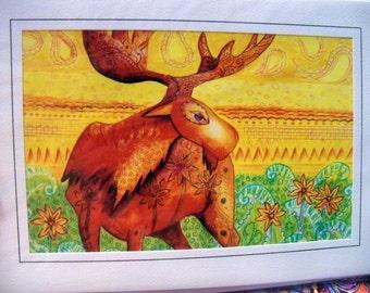 greeting card print of original art-  Moose grooves Zentangle