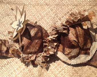Authentic Tapa Cloth Costume Bra. Perfect For Tahitian And Cook Islands Dancer, Luau, Halau . Perfect For All Ages! Please select Your Size!