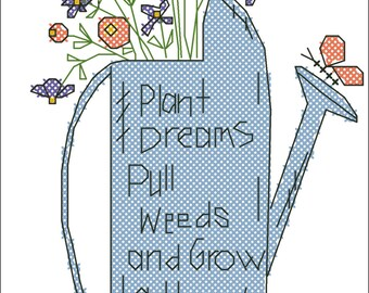 """The scheme for cross stitch """"Watering can"""""""