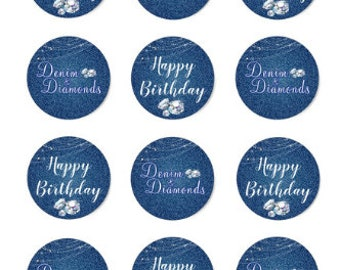 Denim & Diamonds Birthday-Themed Chocolate Covered Cookies