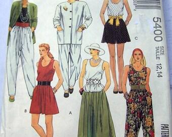taille de 5400 de 1991 facile McCall 12,14, réglable pour miss petite veste, pantalon, chemisier, longueurs de jupe fendue-3