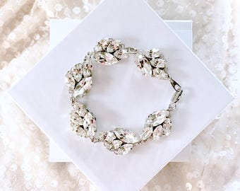 Silver leaf bridal bracelet, leaf rhinestone wedding bracelet, also in gold or rose gold, rhinestone bracelet, statement jewelry for bride