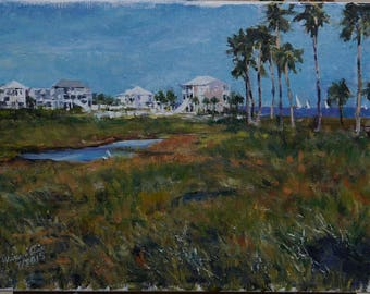 Original Landscape Oil Painting - Pensacola Beach Resort