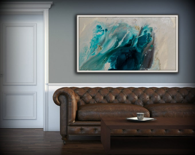 Abstract Art Blue Wall Art Coastal Landscape Giclee Large PRINT on Canvas Large Gift for Her Modern Home Decor Wall Art Painting Dawning