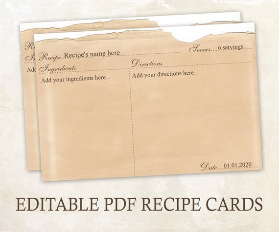 editable recipe cards 4x6 rustic recipe cards editable pdf printable