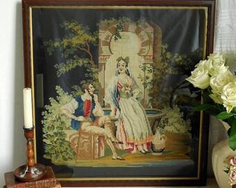 Stunning antique sampler, needlepoint, Berlin work, embroidery. Original frame