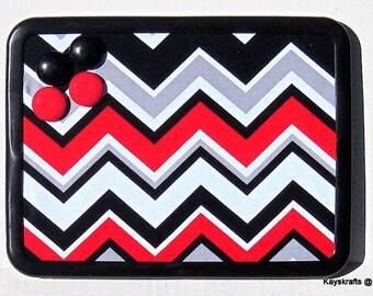 Red Black Chevron Zig Zag Magnet Board, Magnet Magnetic Bulletin Board, 8x11 Magnetic Message Board, Magnetic Pin Board, Kitchen Decor
