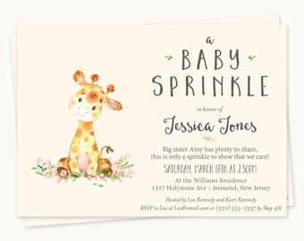 Giraffe Baby Sprinkle Invitations - Giraffe Baby Sprinkle - Printable Invitation - Giraffe Baby Sprinkle Invites - Giraffe Invitation