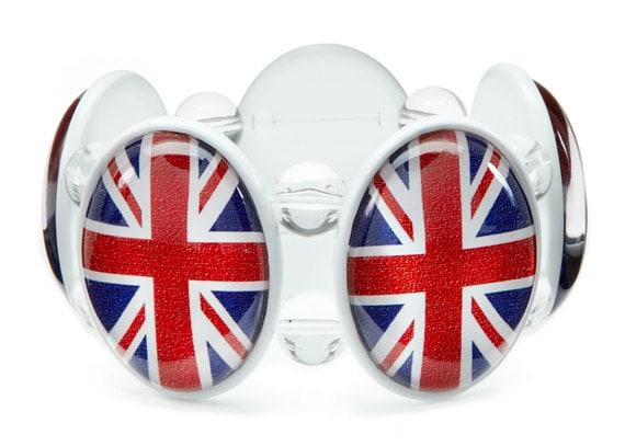 SALE - Union Jack Five-Cameo Stretch Bracelet in White