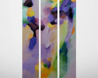 """Original 3 Piece ABSTRACT Painting by CES - Contemporary Modern Triptych Texture Purple Orange Expressionism Fine ART 18"""" x 36"""""""